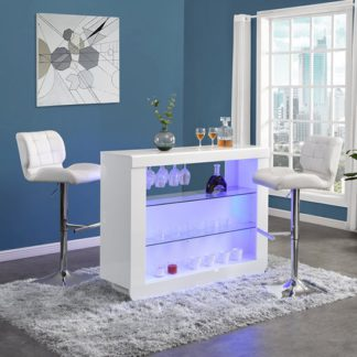 An Image of Fiesta White High Gloss Bar Table With 2 Candid White Stools