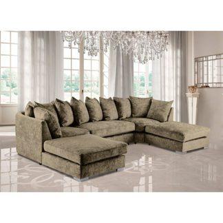 An Image of Boise U-Shape Chenille Fabric Corner Sofa In Mink