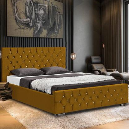 An Image of Papillion Plush Velvet Single Bed In Mustard