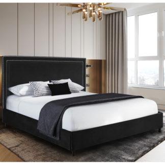 An Image of Sensio Plush Velvet Single Bed In Black