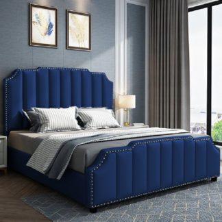 An Image of Abilene Plush Velvet Double Bed In Blue