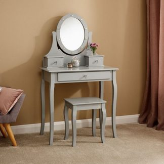An Image of Grace Wooden LED Dressing Table In Grey With 1 Drawer