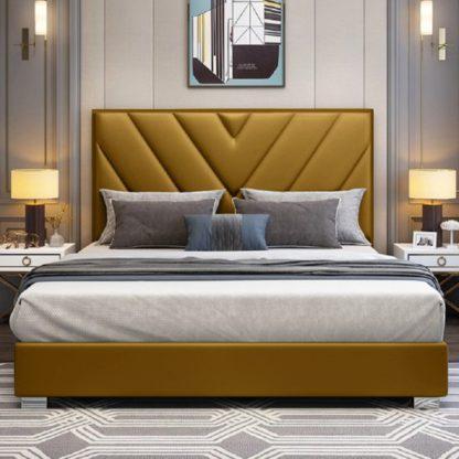An Image of Dewitt Plush Velvet Single Bed In Mustard