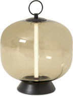 An Image of Olney LED Table Lamp, Champagne Glass and Black Metal