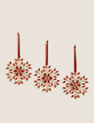 An Image of M&S 3 Pack Jewelled Snowflake Decorations