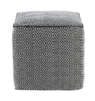 An Image of Habitat Durrie Cotton Cube Footstool - Black and White
