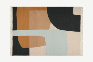 An Image of Waltara Flatweave Wool Rug, Large 160 x 230 cm, Nude & Charcoal