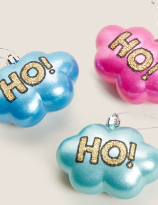 An Image of M&S 3 Pack Glitter Cloud Decorations