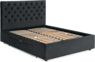 An Image of Skye King Size Bed with Storage Drawers, Midnight Grey Velvet