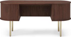 An Image of Tambo Wide Desk, Walnut & Brass