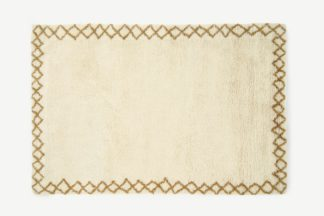 An Image of Heijer Washed Shaggy 100% Wool Rug, Large 160 x 230 cm, Off-White & Tan
