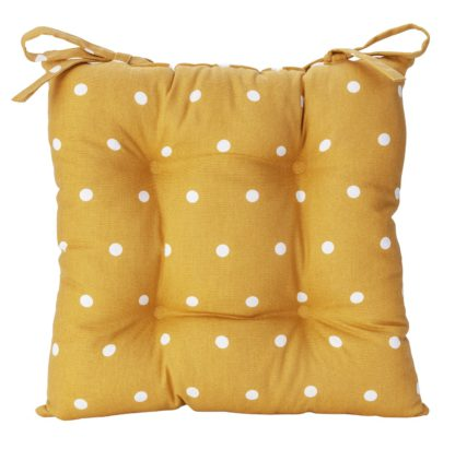 An Image of Argos Home Pack of 2 Spot Seat Cushion - Mustard