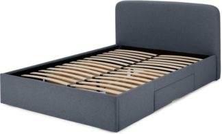 An Image of Besley King Size Bed with Storage Drawers, Aegean Blue