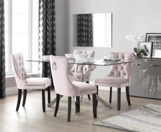 An Image of Argos Home Blake Dining Table & 4 Princess Chairs - Blush