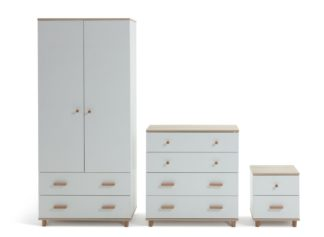 An Image of Habitat Melby 3 Piece 2 Door Wardrobe Set - White