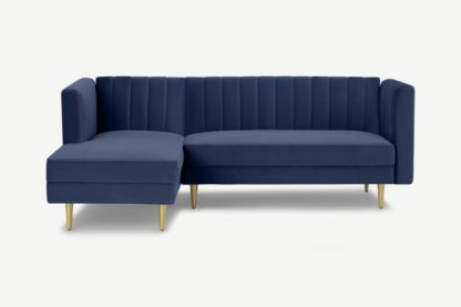 An Image of Amicie Left Hand Facing Chaise End Click Clack Sofa Bed, Royal Blue Velvet