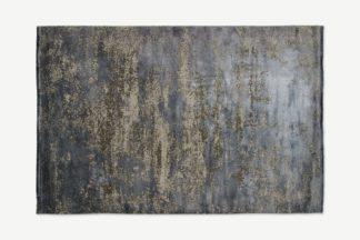 An Image of Engadine Luxury Viscose Low Pile Rug, Large 160 x 230cm, Ink Blue