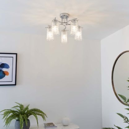 An Image of Vogue Kerr 5 Light Semi Flush Ceiling Fitting Chrome