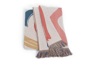 An Image of Habitat Studio Squiggle Cotton Throw - Multicoloured