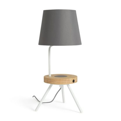 An Image of Argos Home Tripod Desk Lamp with Wireless Charging Shelf