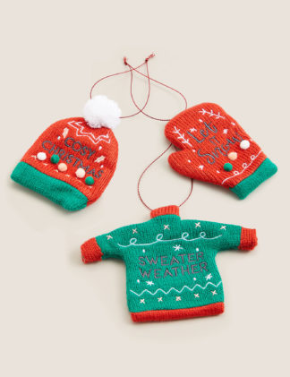An Image of M&S 3 Pack Hanging Jumper Tree Decorations