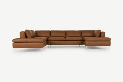 An Image of Monterosso Left Hand Facing Corner Sofa, Denver Tan Leather with Chrome Legs