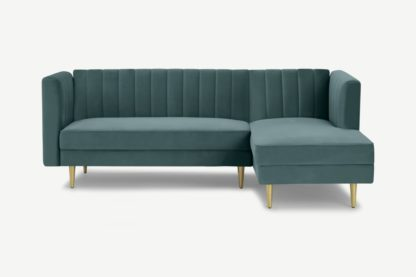 An Image of Amicie Right Hand Facing Chaise End Click Clack Sofa Bed, Marine Green Velvet