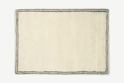 An Image of Heijer Washed Shaggy 100% Wool Rug, Large 160 x 230 cm, Off-White & Black