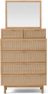 An Image of Pavia Vanity Chest of Drawers, Natural Rattan & Oak Effect
