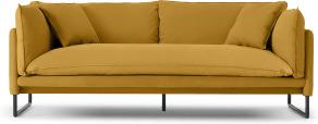 An Image of Malini 3 Seater Sofa, Ochre Cotton & Linen Mix