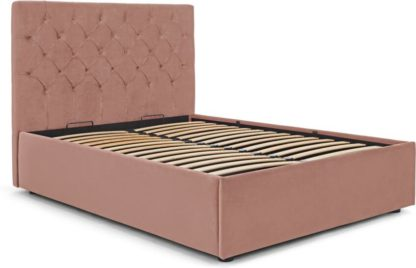 An Image of Skye King Size Bed with Ottoman Storage, Blush Pink Velvet
