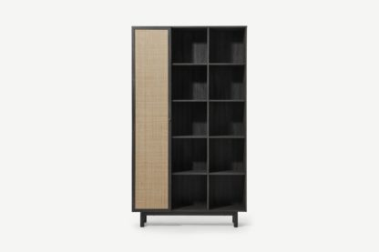 An Image of Pavia Wide Shelving Unit, Natural Rattan & Black Wood Effect
