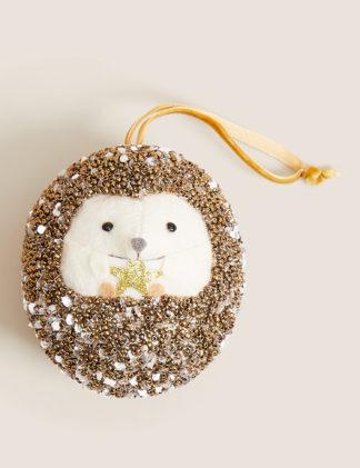 An Image of M&S Hanging Glitter Hedgehog Tree Decoration