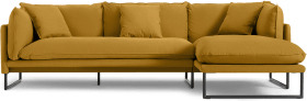 An Image of Malini Right Hand Facing Chaise End Sofa, Ochre Cotton & Linen Mix