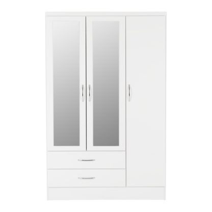 An Image of Nevada 3 Door Mirrored Wardrobe White