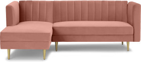 An Image of Amicie Left Hand Facing Chaise End Click Clack Sofa Bed, Vintage Pink Velvet