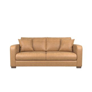 An Image of Carson Faux Leather 3 Seater Sofa Tan