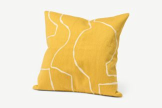 An Image of Nuwan Embroidered Cushion, 50 x 50 cm, Soft Yellow