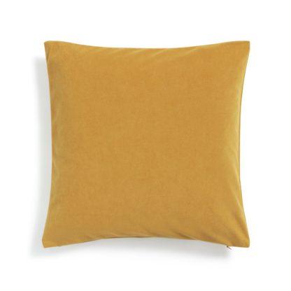 An Image of Habitat Matte Velour Plain Cushion - Mustard - 43x43cm