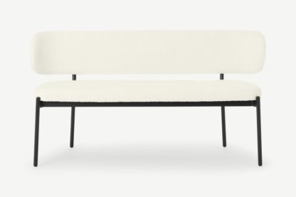 An Image of Asare Dining Bench, Whitewash Boucle with Black Legs