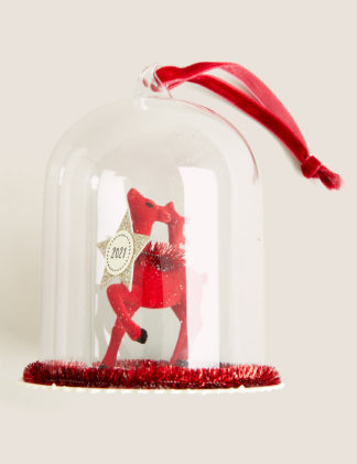 An Image of M&S Glass Hanging Deer Decoration