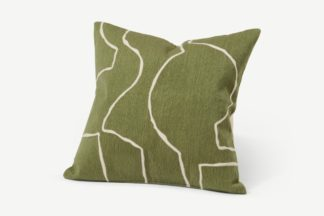 An Image of Nuwan Embroidered Cushion, 50 x 50 cm, Moss Green