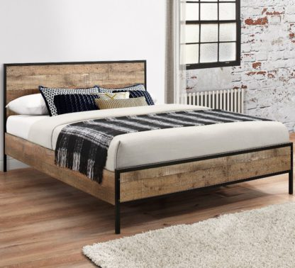 An Image of Wooden and Metal Bed Frame 4ft6 Double Urban Rustic