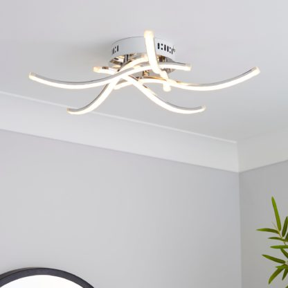 An Image of Layla 5 Light Integrated LED Semi-Flush Ceiling Fitting Silver