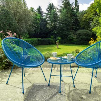 An Image of Monaco 2 Seater Blue Egg Chair Bistro Set Blue