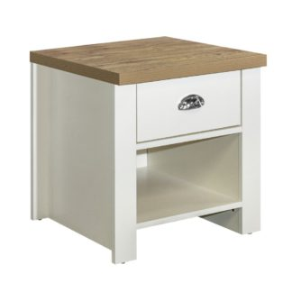 An Image of Highgate Cream and Oak Wooden 1 Drawer Lamp Table