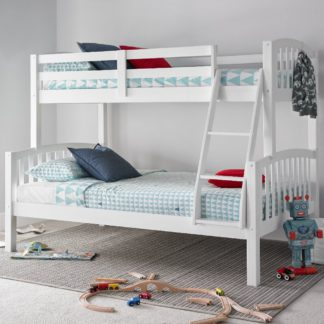 An Image of American White Wooden Triple Sleeper Bunk Bed Frame - 3ft Single Top and 4ft Small Double Bottom