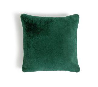 An Image of Habitat Plain Faux Fur Cushion - Emerald Green - 43x43cm