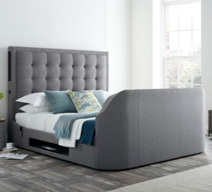 An Image of Titan 2 Smoke Grey Fabric Media Electric TV Bed Frame - 5ft King Size