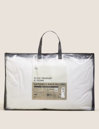 An Image of M&S 2 Pack Duck Feather & Down Medium Pillows